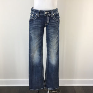 MISS ME 28 Boot Cut Distressed Jeans Embellished